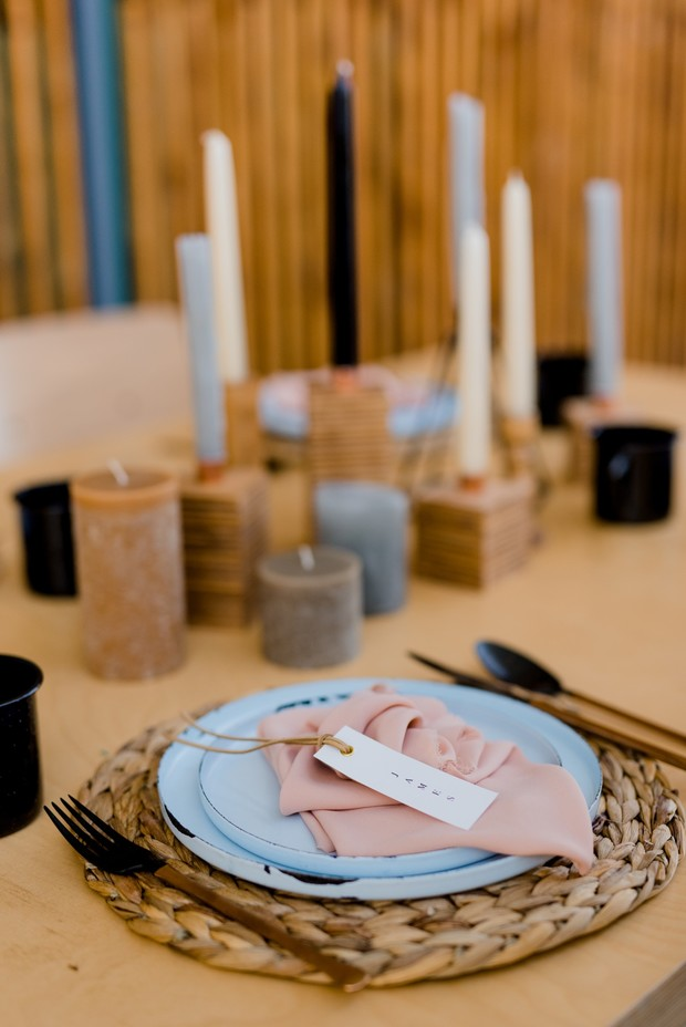 soft blue and pink rustic modern and minimalist place setting