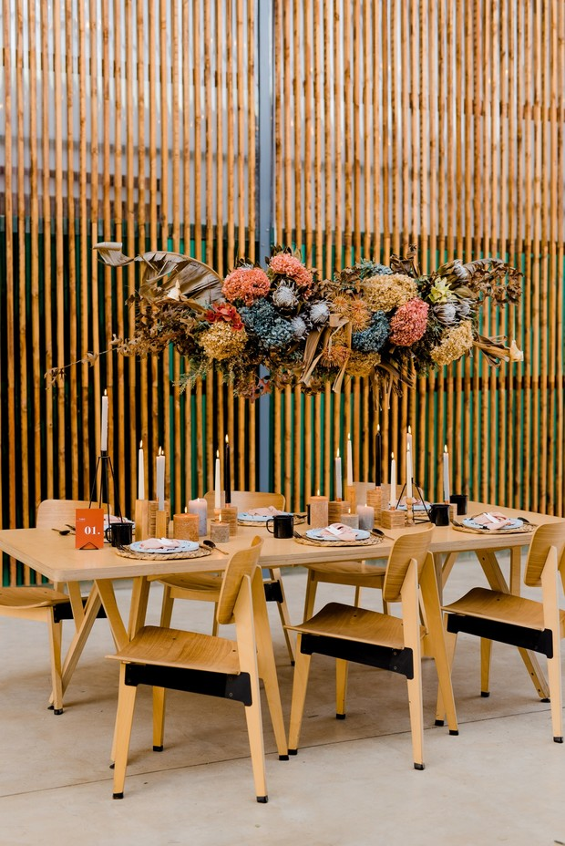 modern minimalist table decor with floating floral table halo
