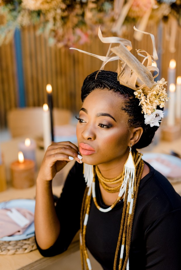 modern bride with traditional African accessories