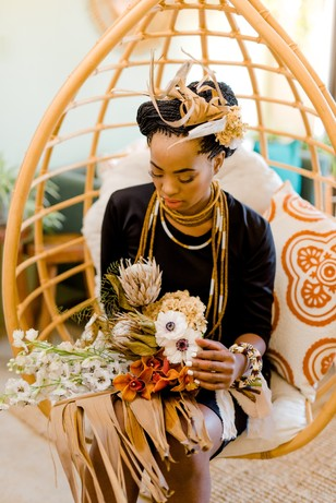 alternative bridal style with traditional African inspiration