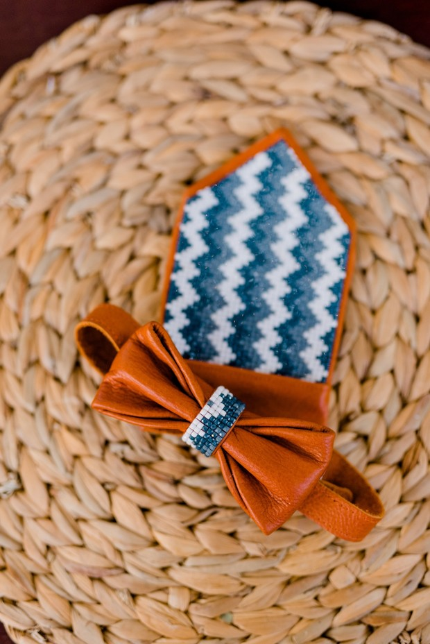 beaded leather pocket square and bow tie