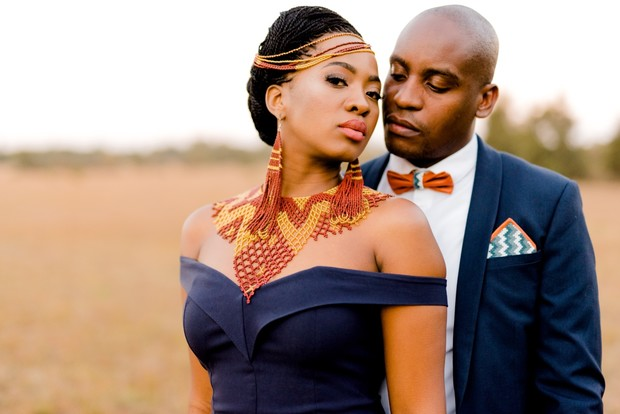 bride and groom style with traditional African style inspiration
