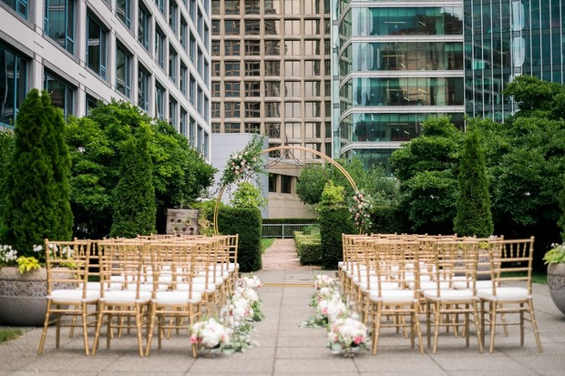 gold and white rooftop wedding ceremony