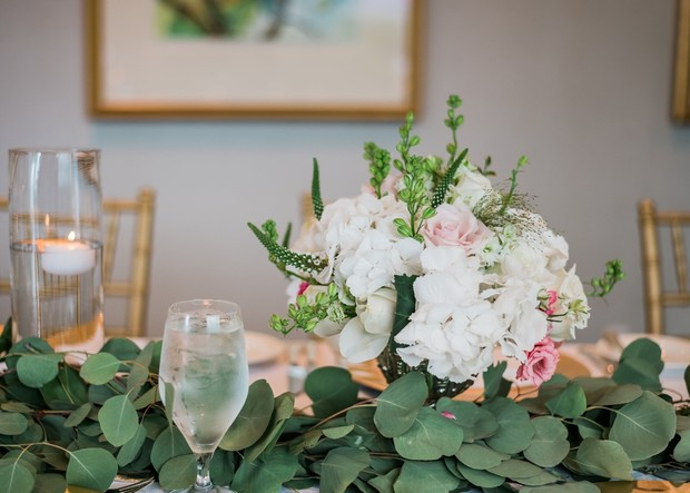 white and pink and eucalyptus floral decor