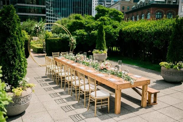 family style seating for your rooftop wedding reception