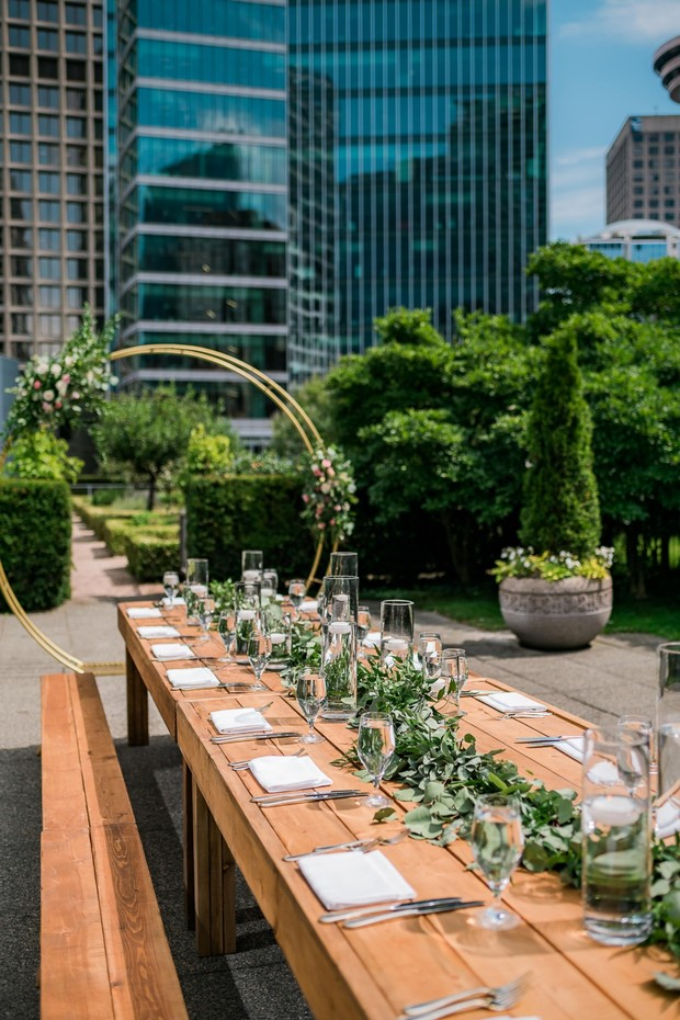 family style seating rooftop reception