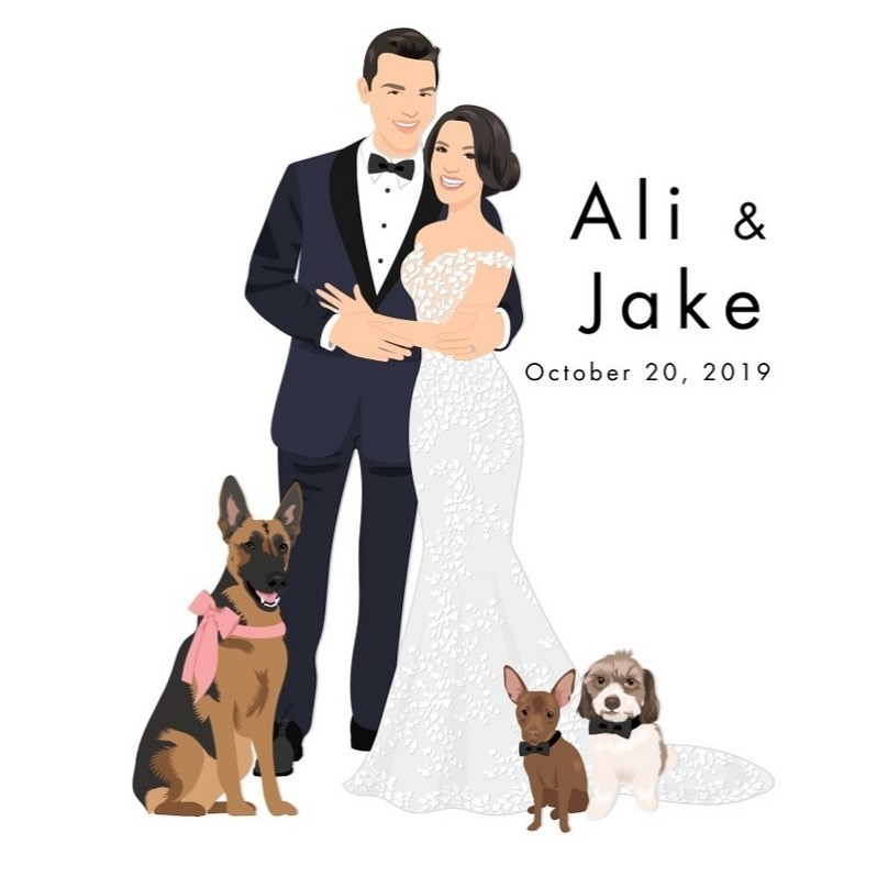 What a darling little family! It's no wonder Ali and Jake wanted to feature their fur babies in their custom design. 🐾 (Not to mention
