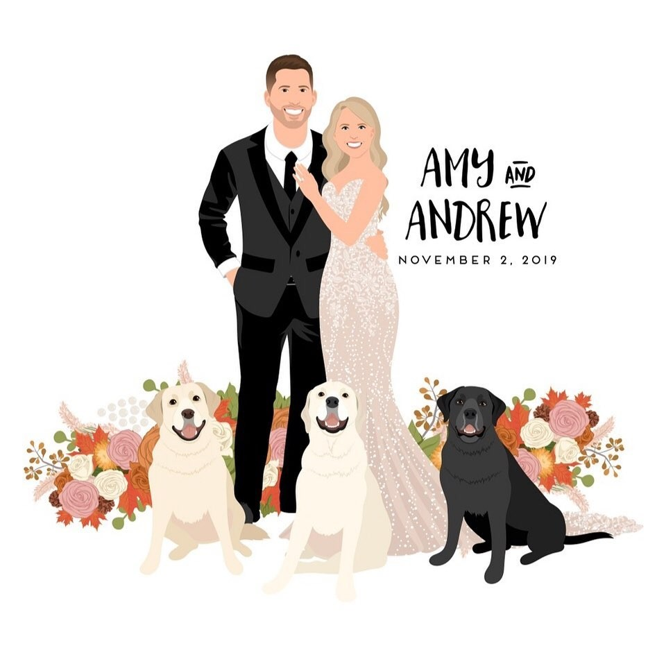 Everybody wish Amy and Andrew a happy wedding day! 🎉 These two, along with their three adorable dogs, are celebrating a lovely,