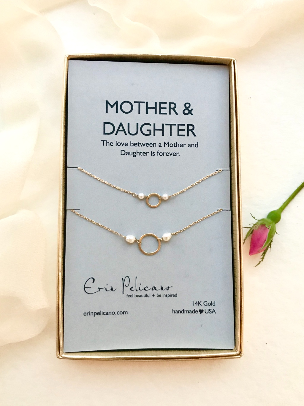 Mother Daughter bridal jewelry in 14k gold and pearls