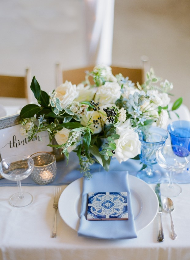 blue tile wedding placesetting