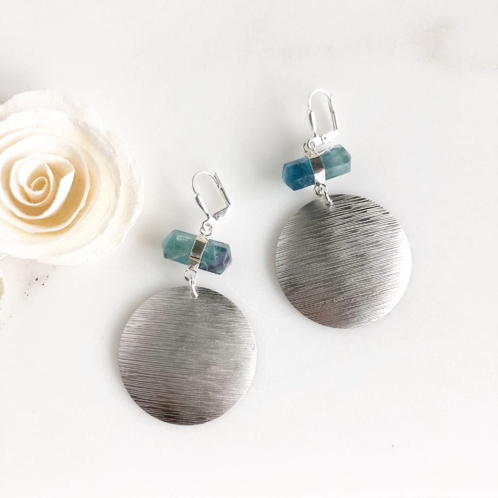 Silver Textured Disk and Rainbow Fluorite Statement Earrings
