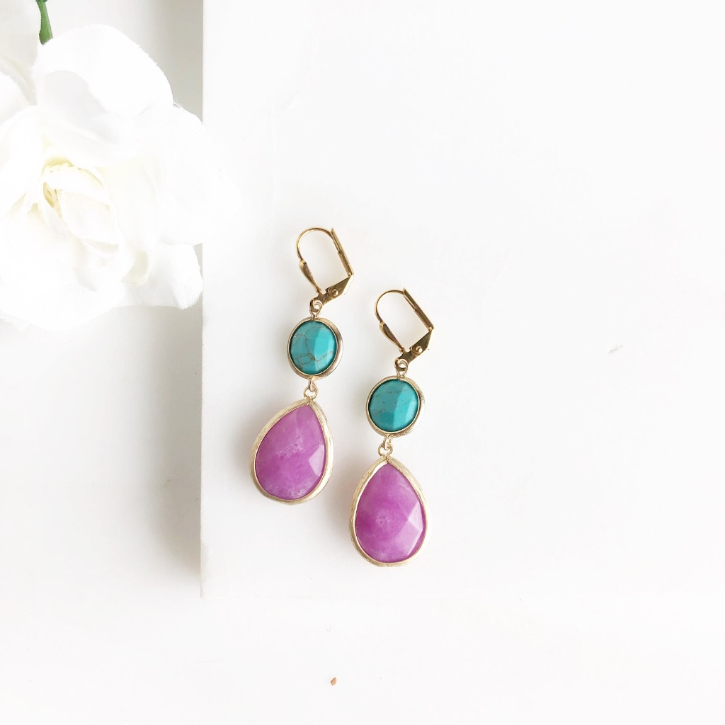SALE Bridesmaid Earring in Gold Fuchsia and Turquoise.