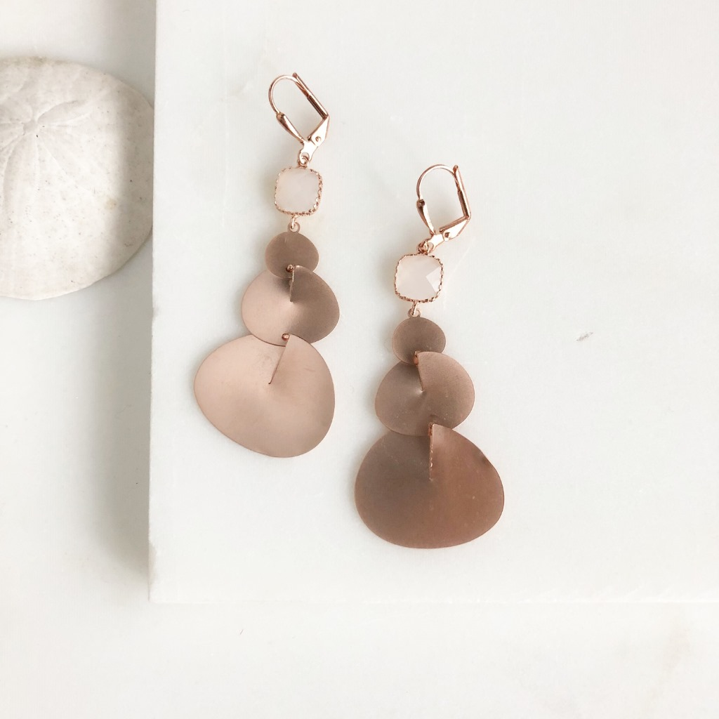 Rose Gold Statement Earring. Long Rose Gold Earrings with Smoky White Stones. Rose Gold Earrings. Rose Gold Jewelry. Geometric Earrings