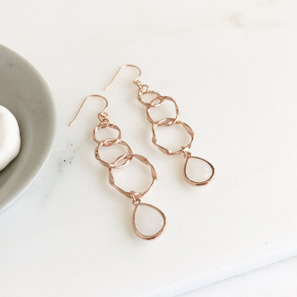 Rose Gold Statement Earring. Long Rose Gold Earrings with Champagne Stones. Multiple Circle Drop Rose Gold Earrings. Rose Gold Jewelry