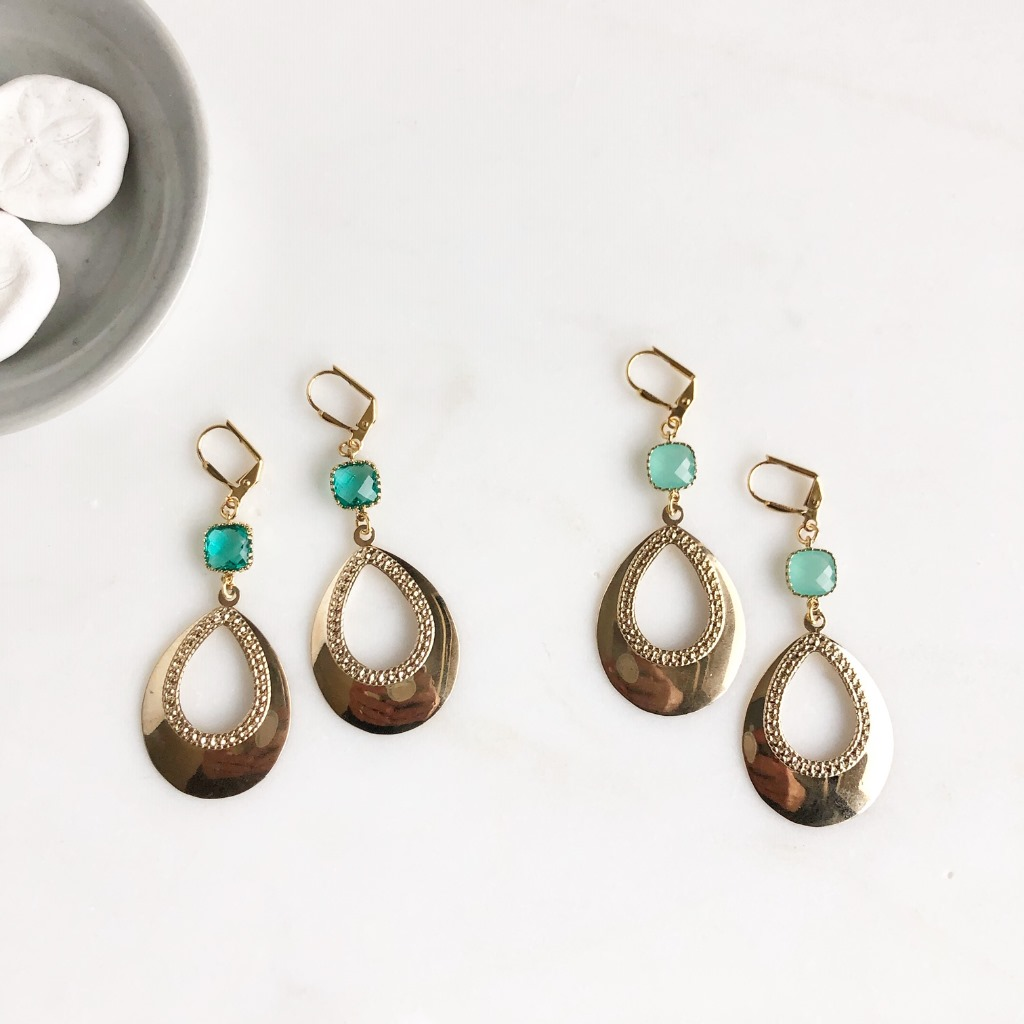 Lovely teardrop dangle earrings with gorgeous aqua or aquamarine stones. Ear wires are gold plated brass.