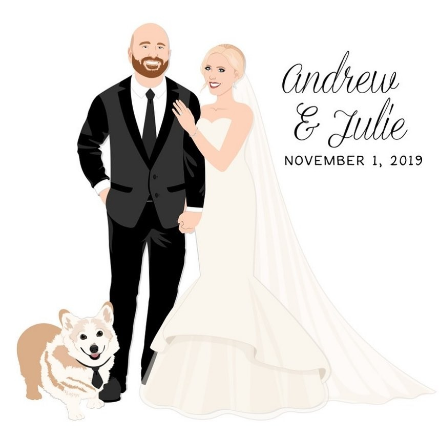 Andrew and Julie wanted to include their adorable Corgi on their big day, and that pup sure showed up for the black tie occasion