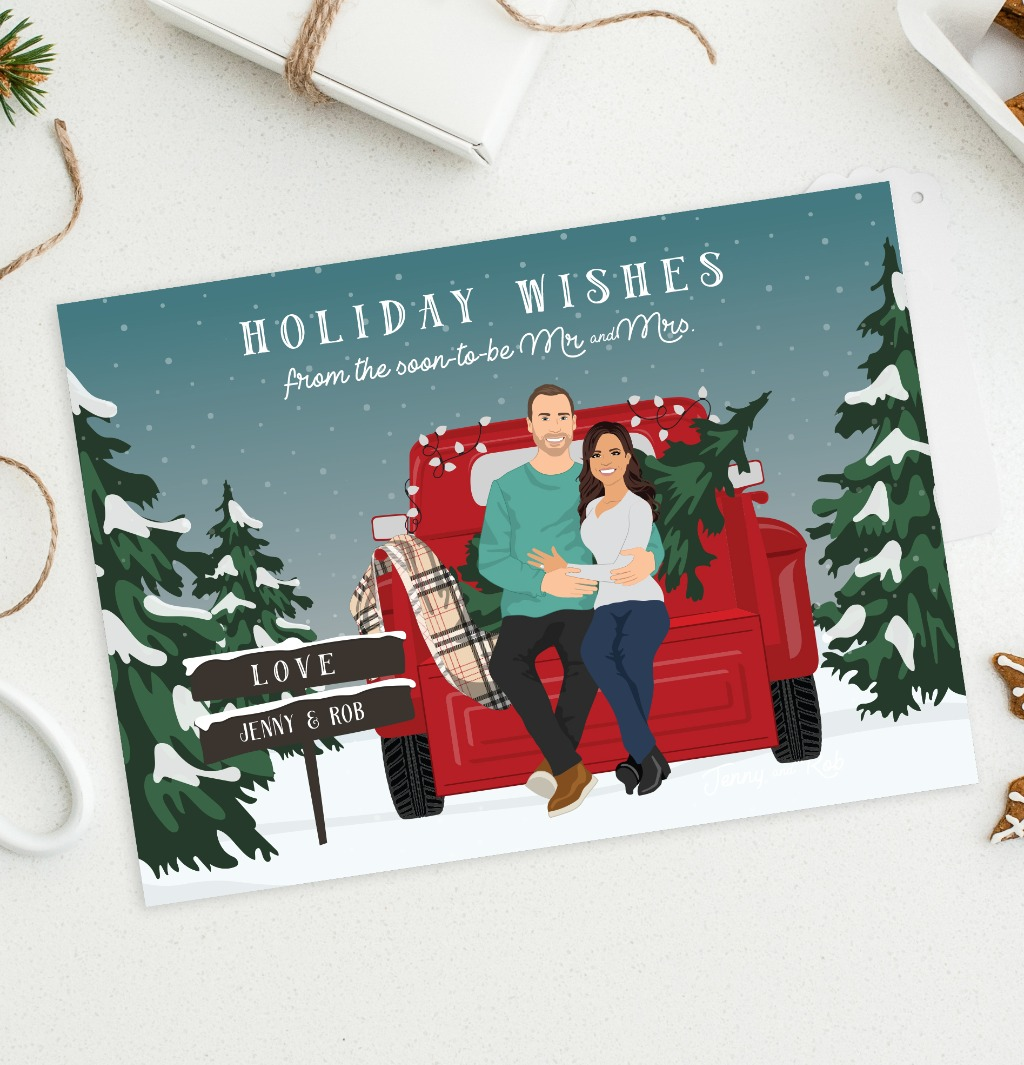 Perfect for any just engaged couple's first Christmas together, this holiday card features a custom portrait in a rustic holiday pickup
