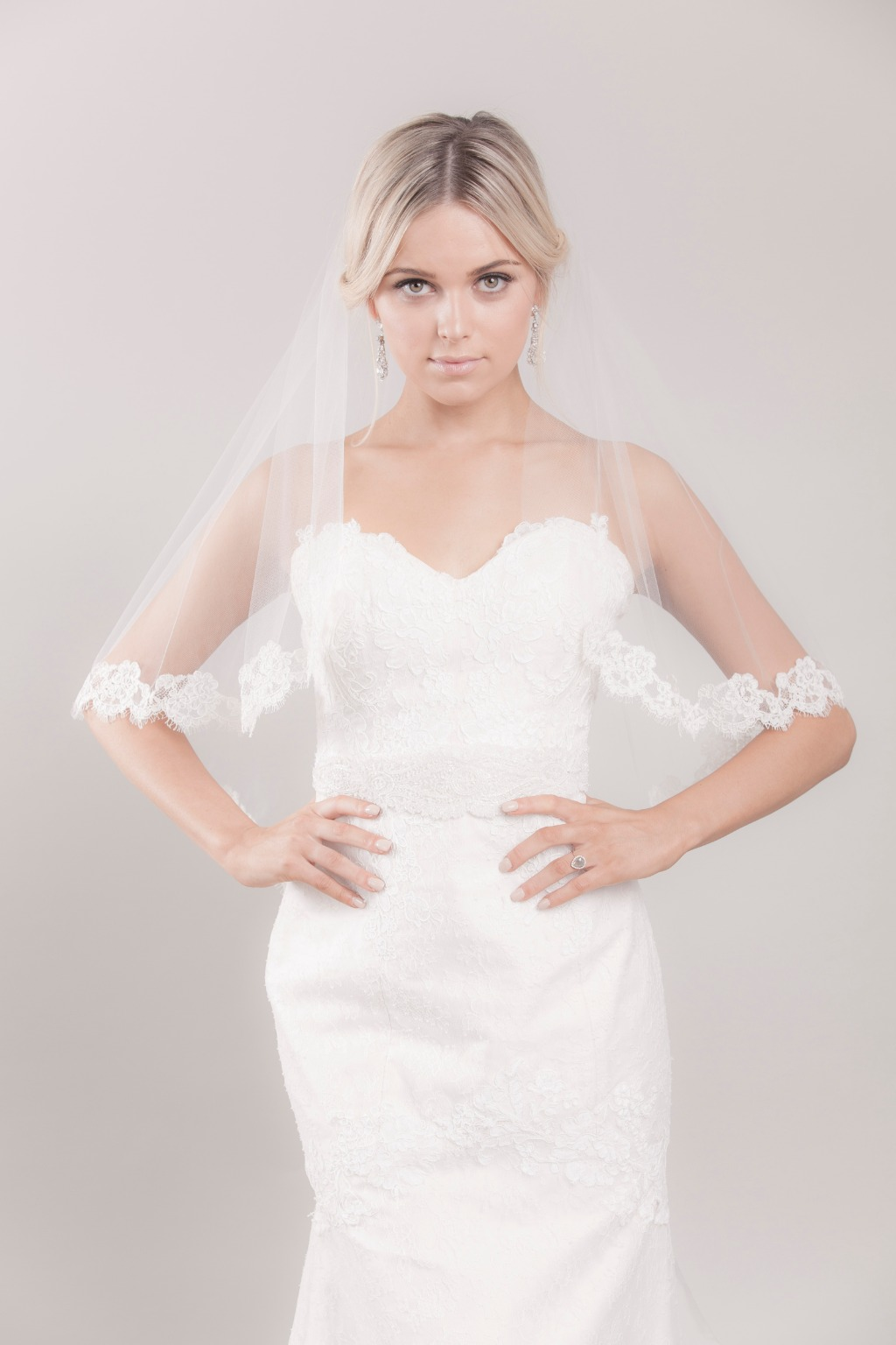 Sheer light cascade cut fingertip veil with lace framed border starting at the elbow. Click to learn more details!