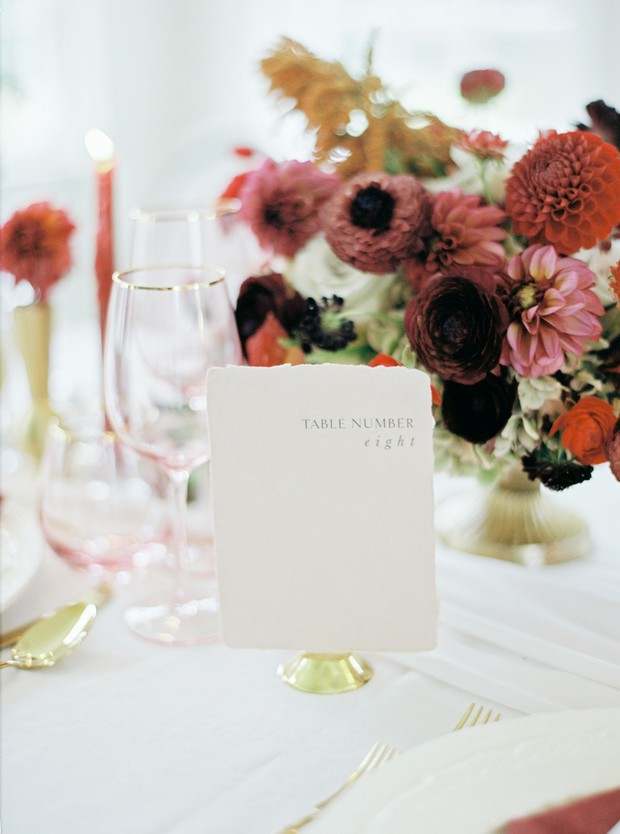 Wedding table number design