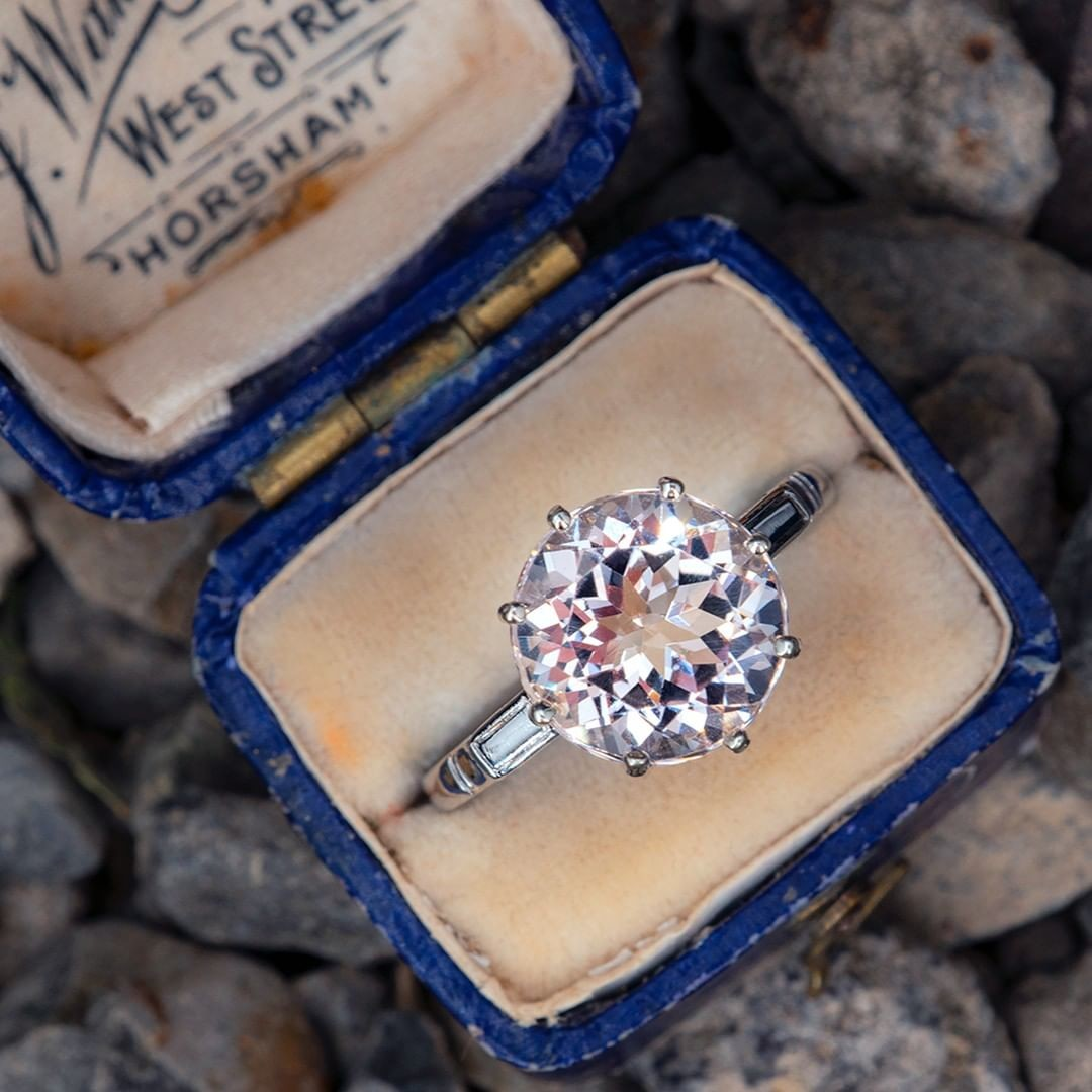 A lovely soft pink 3.8 carat morganite set in a vintage platinum mounting with detailing. Sku A16153.