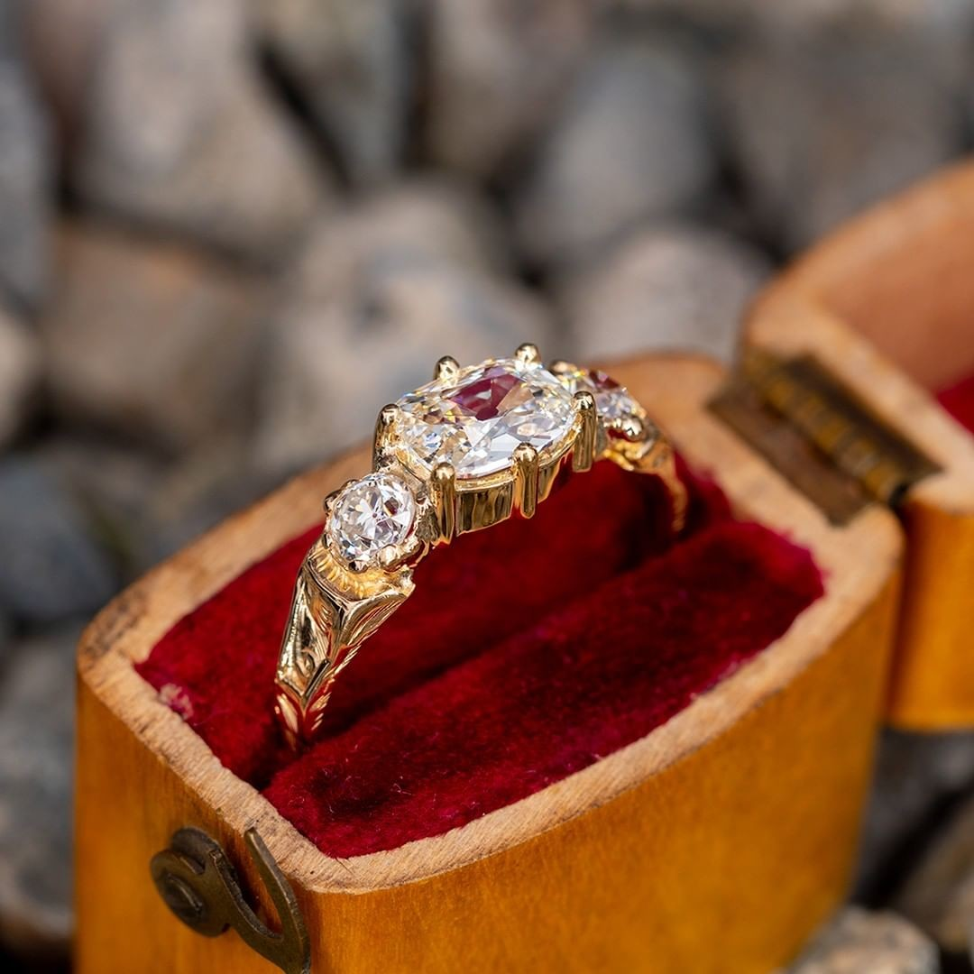 Victorian Yellow Gold Engagement Ring Old Mine Cut Diamond .75ct L/SI1