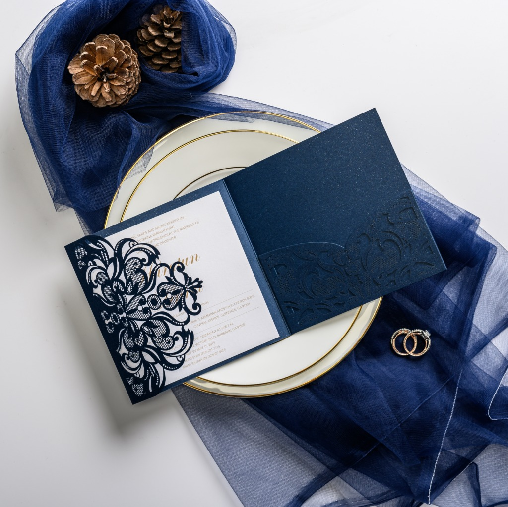 This elegant navy invitation features lace wrap and side pocket—simple but delicate. Perfect for classic theme.