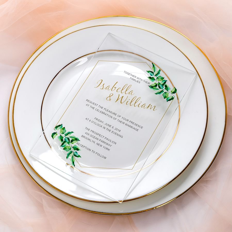 This delicate acrylic invite features simple foil lines and finished with botany at corners. The acrylic material is clear and transparent