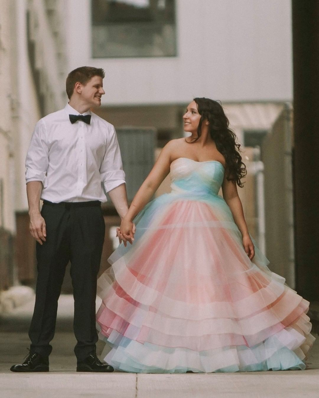 Be creative and bold on your wedding in rainbow shade! 🌈 Are you going to get a colored wedding gown? Any bride who orders a colored