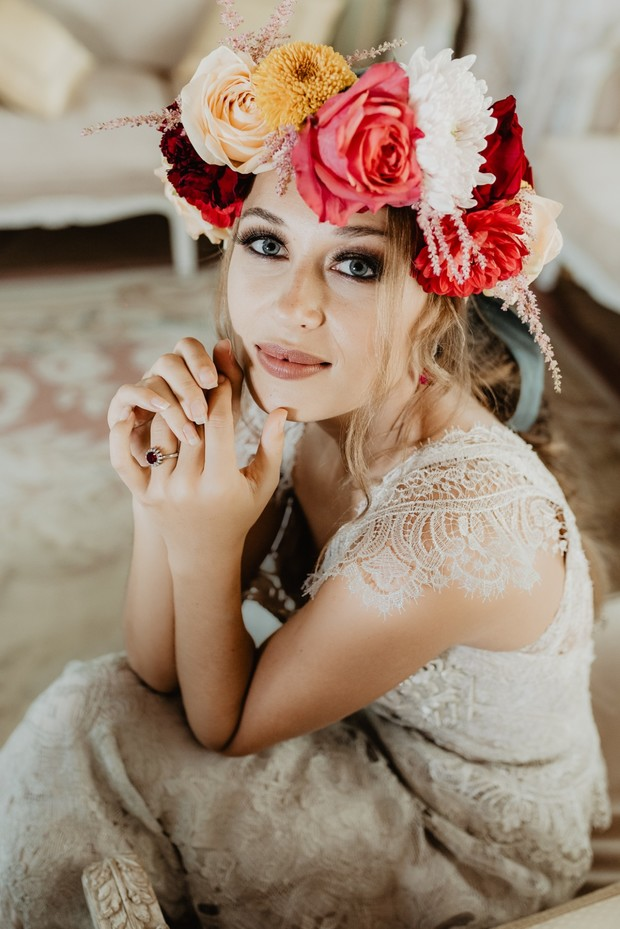boho bride flower halo