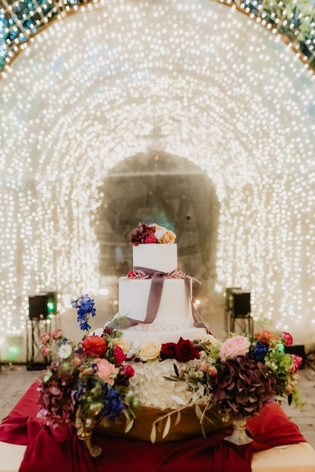 wedding cake and lights
