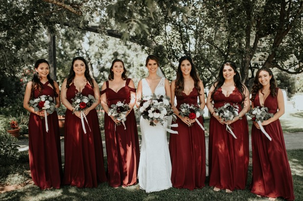 bridesmaids in deep red dresses