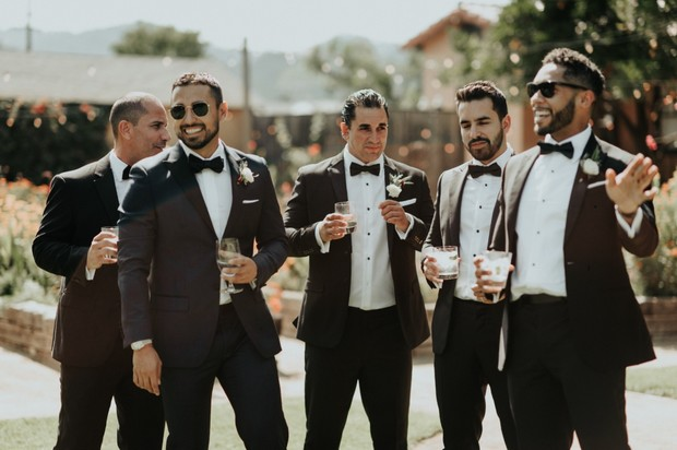 groom and his men in dapper looking suits