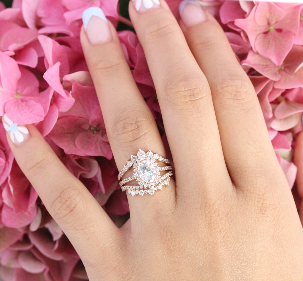 Breathtakingly gorgeous! This Moissanite Bridal Ring Set showcases a Halo Moissanite Engagement Ring in Pave Diamond Band nesting stunningly