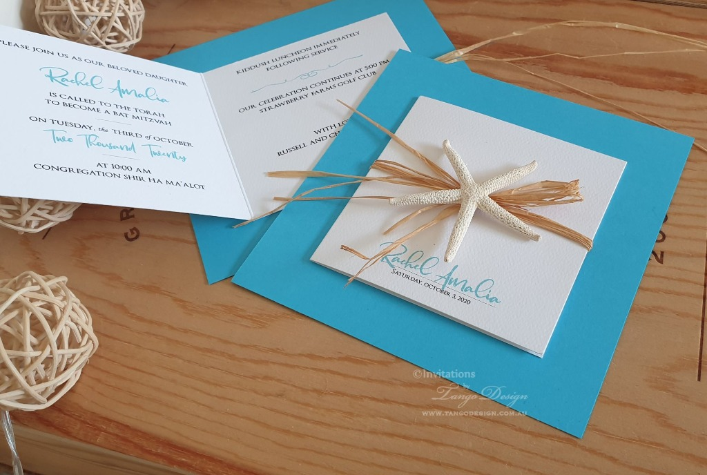 Stunning beach wedding invitation with custom printed details inside.