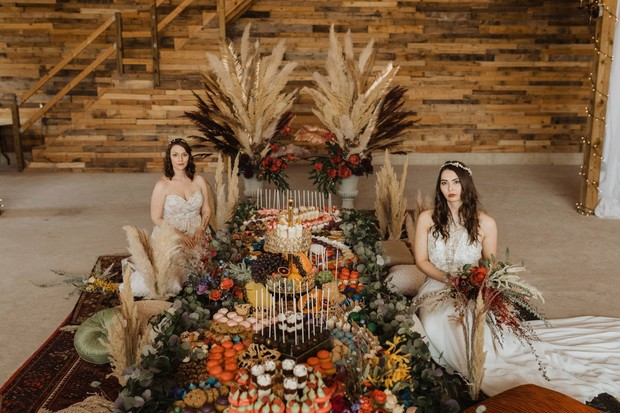 rustic boho wedding table idea