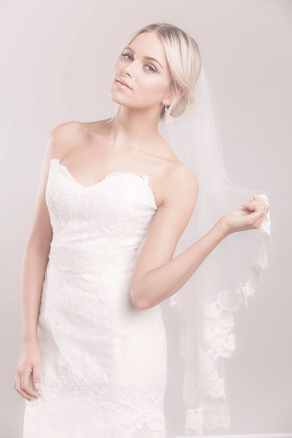 Looking for a classic wedding veil with lace bottom? Marlisa Fingertip Cascade Veil is a sheer light cascade cut fingertip veil with