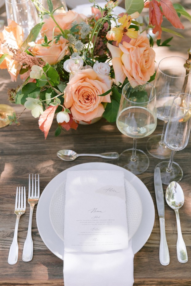 Spring wedding placesetting