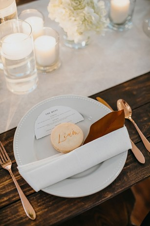 white and rose gold place setting
