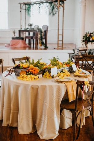 floral and yellow wedding table decor