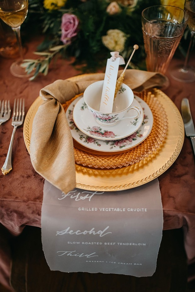 gold and china wedding place setting