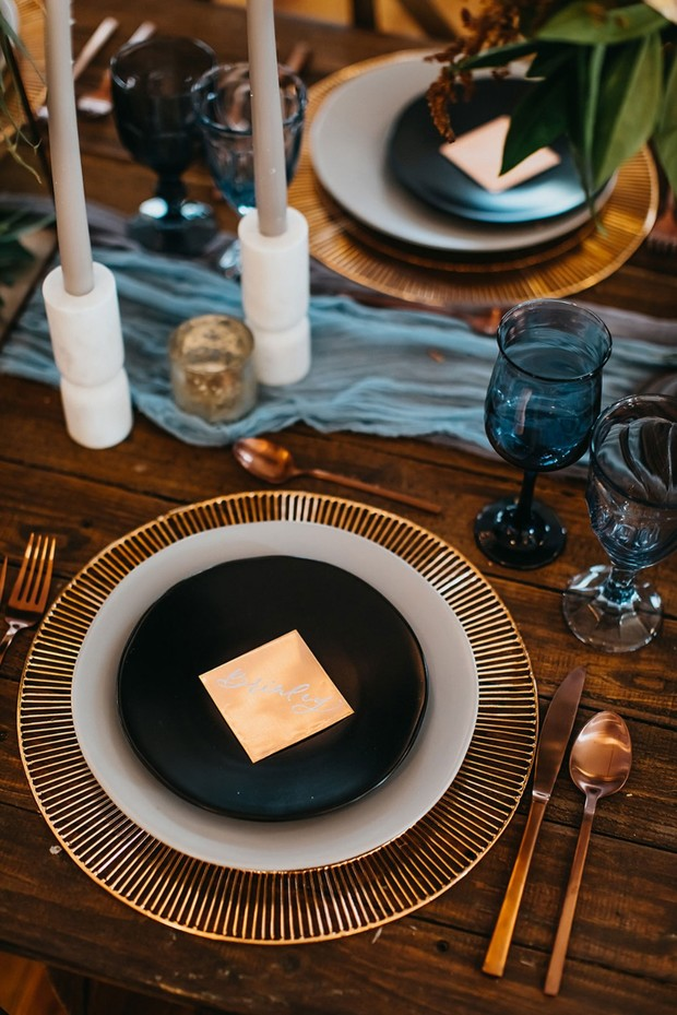 black and copper wedding place setting