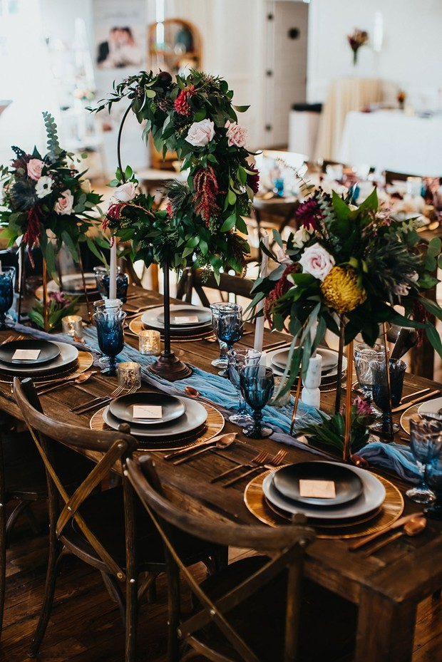 blue and copper wedding table decor