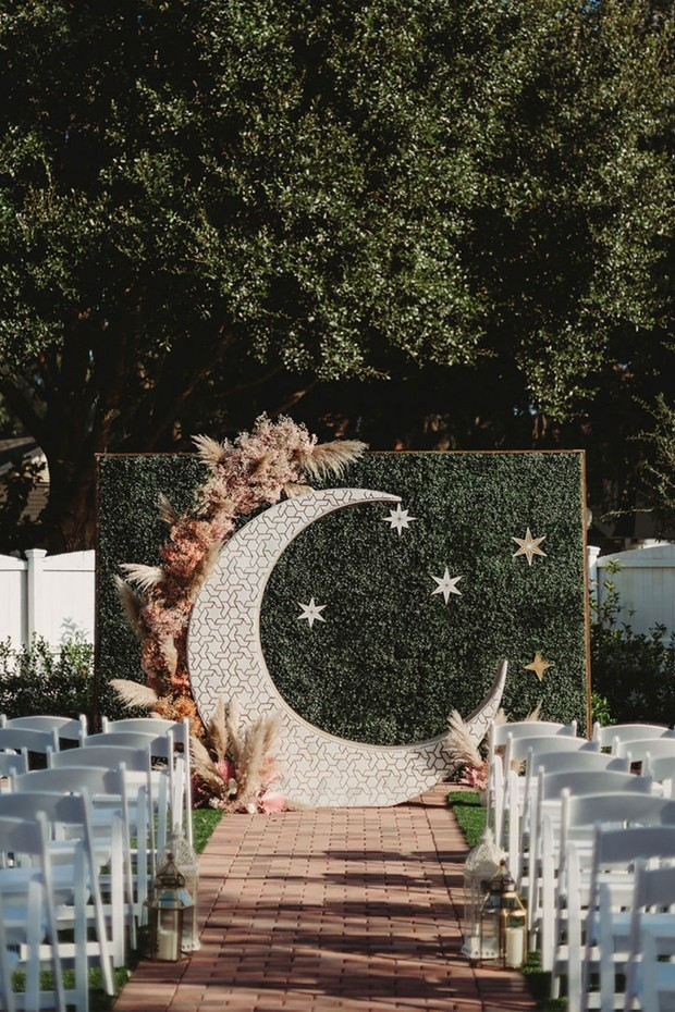wedding backdrop with moon and stars