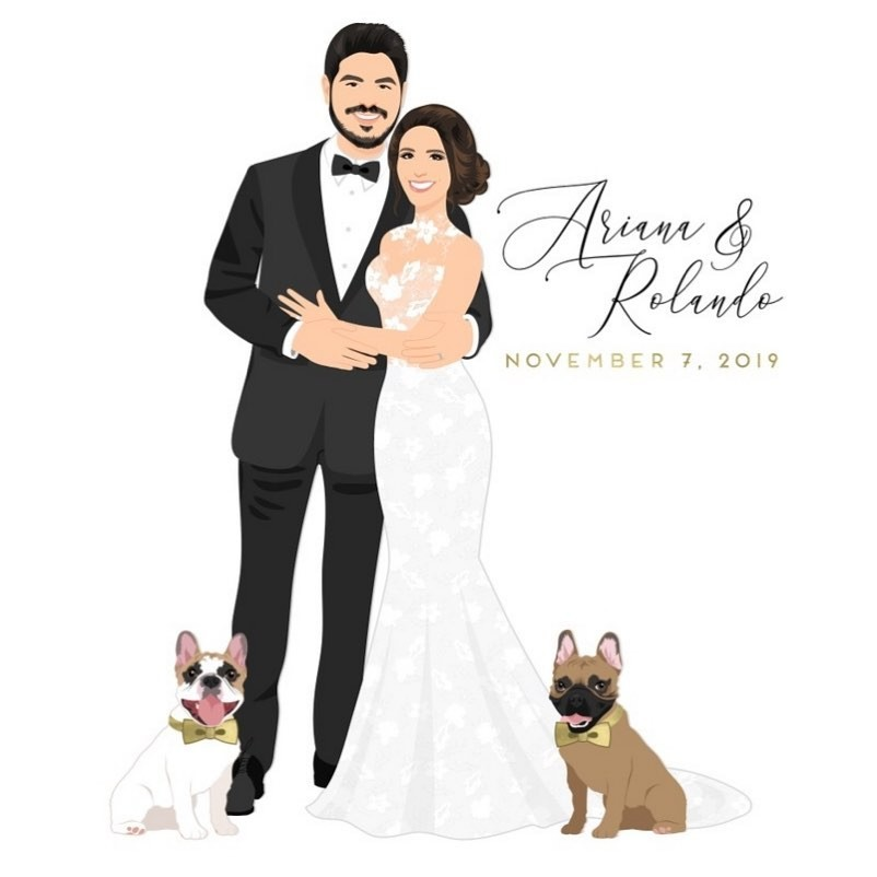 Congrats to these two newlyweds! They wanted their adorable Frenchies added to the custom design, and can we just say, what a paw