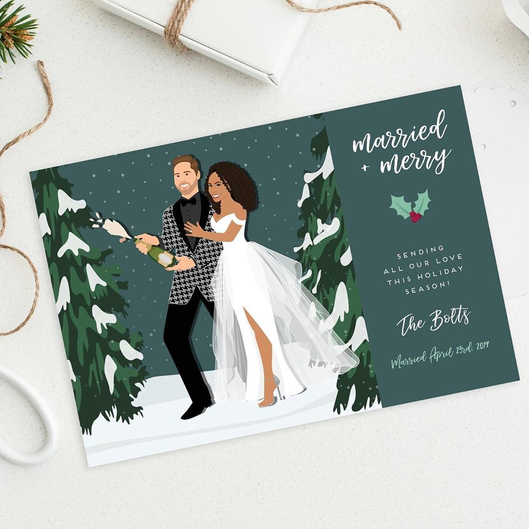 ⁠Celebrating your first holiday season as a married couple? ❤️ Send out some sweet custom cards to your loved ones, like this