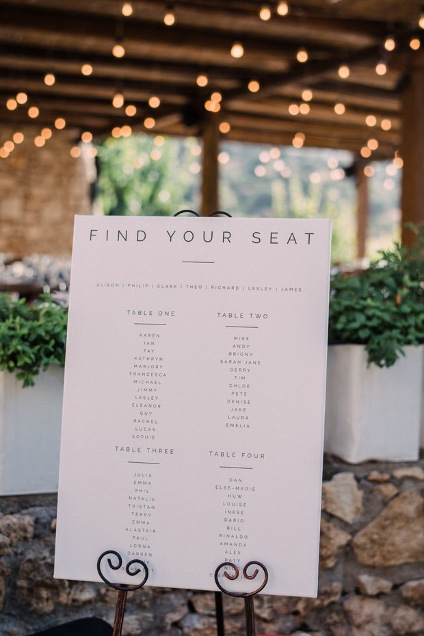 find your seat wedding seating assignment sign