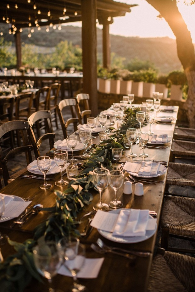 sunset wedding reception