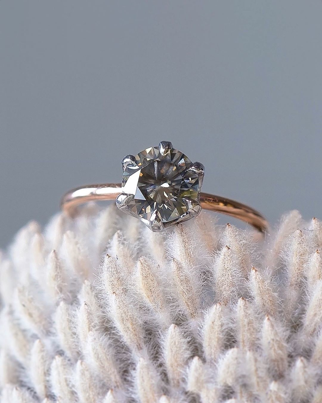 Just like a beautiful Fall morning... I love how crisp and warm this post-consumer recycled rose gold and platinum solitaire feels