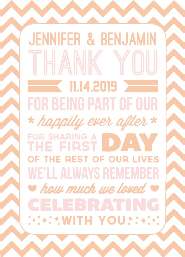 Print: Poster Style Free Printable Wedding Thank You Card