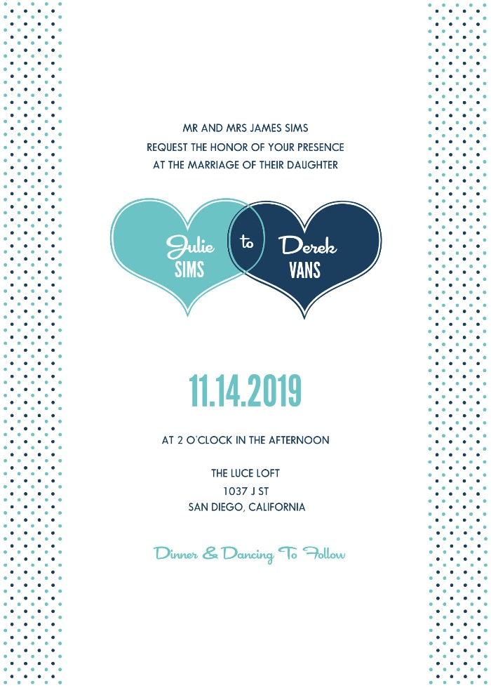 Print: Hearts and Polka Dots Free Printable Save The Date